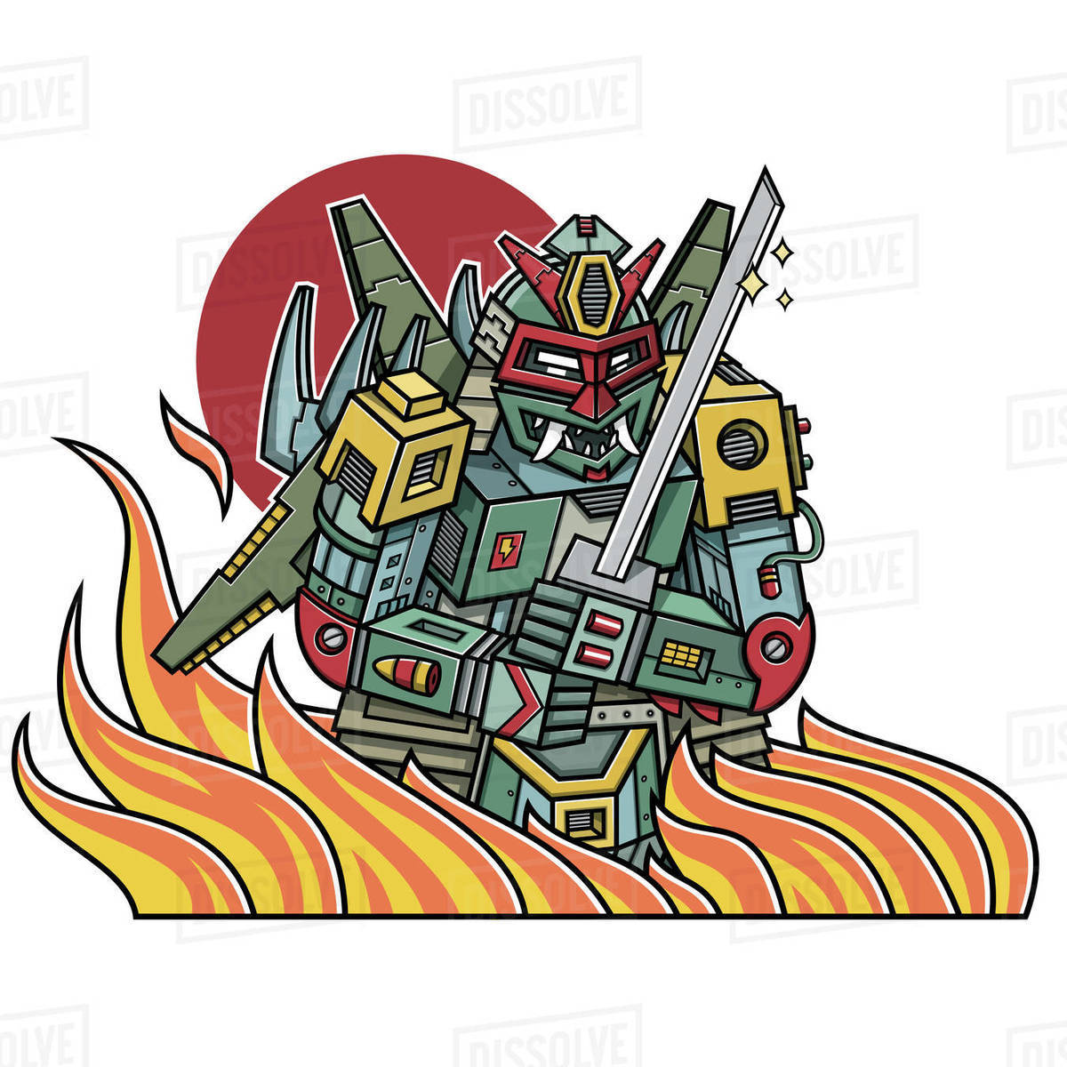 Cartoon illustration of samurai robot with fire isolated on white background Royalty-free stock photo