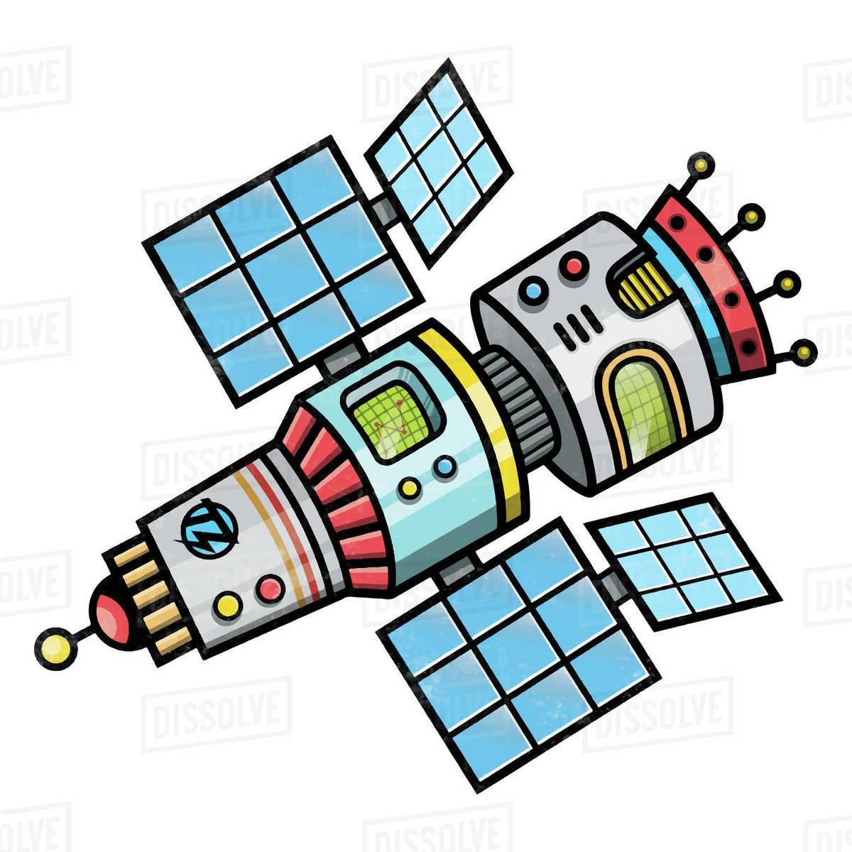 Illustration of space station isolated on white background Royalty-free stock photo