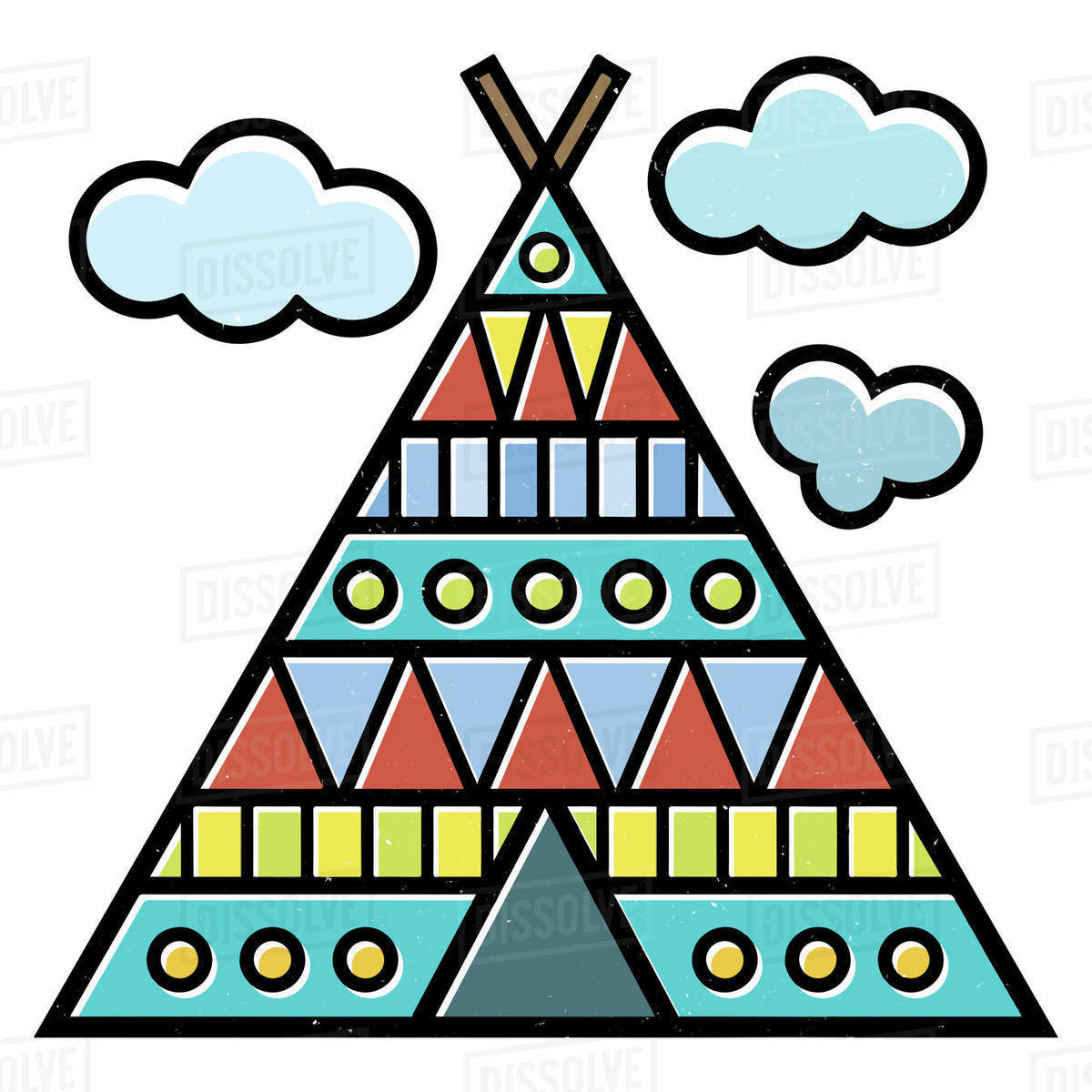 Illustration of colorful teepee isolated on white background Royalty-free stock photo