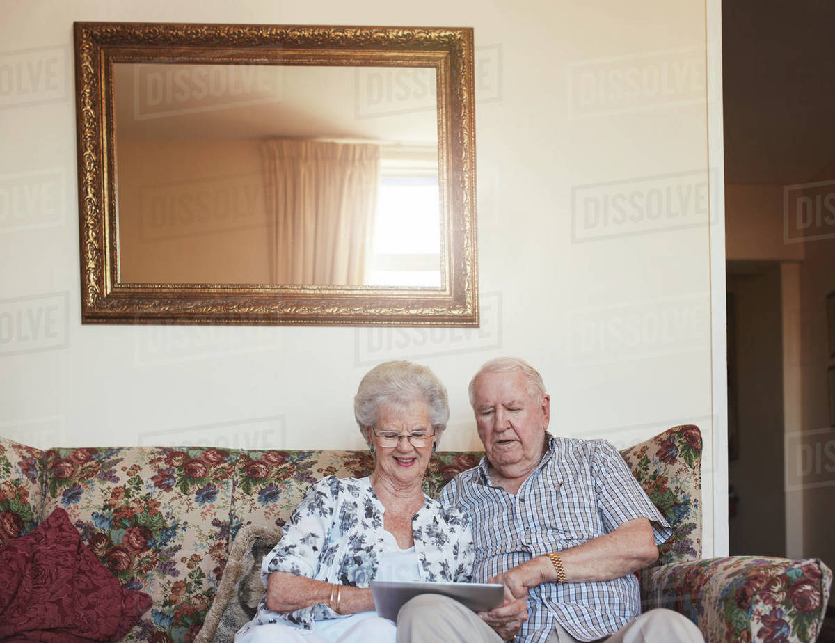 Old couple on computer