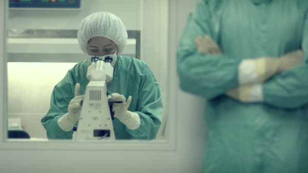 Portrait of man and woman working as lab researchers in biotechnology industry Royalty-free stock video