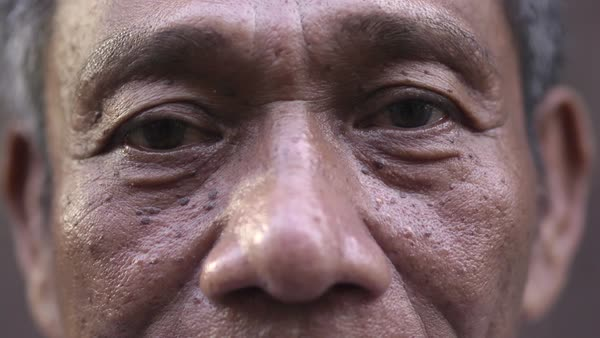 Portrait of elderly Asian man, looking at camera. Royalty-free stock video