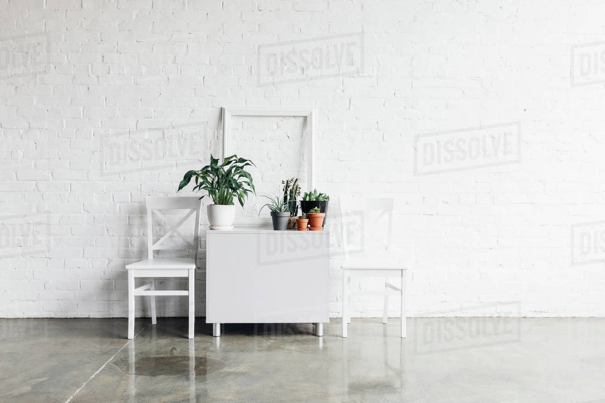 House Decor In Front Of White Brick Wall Mockup Concept D2115 272 180