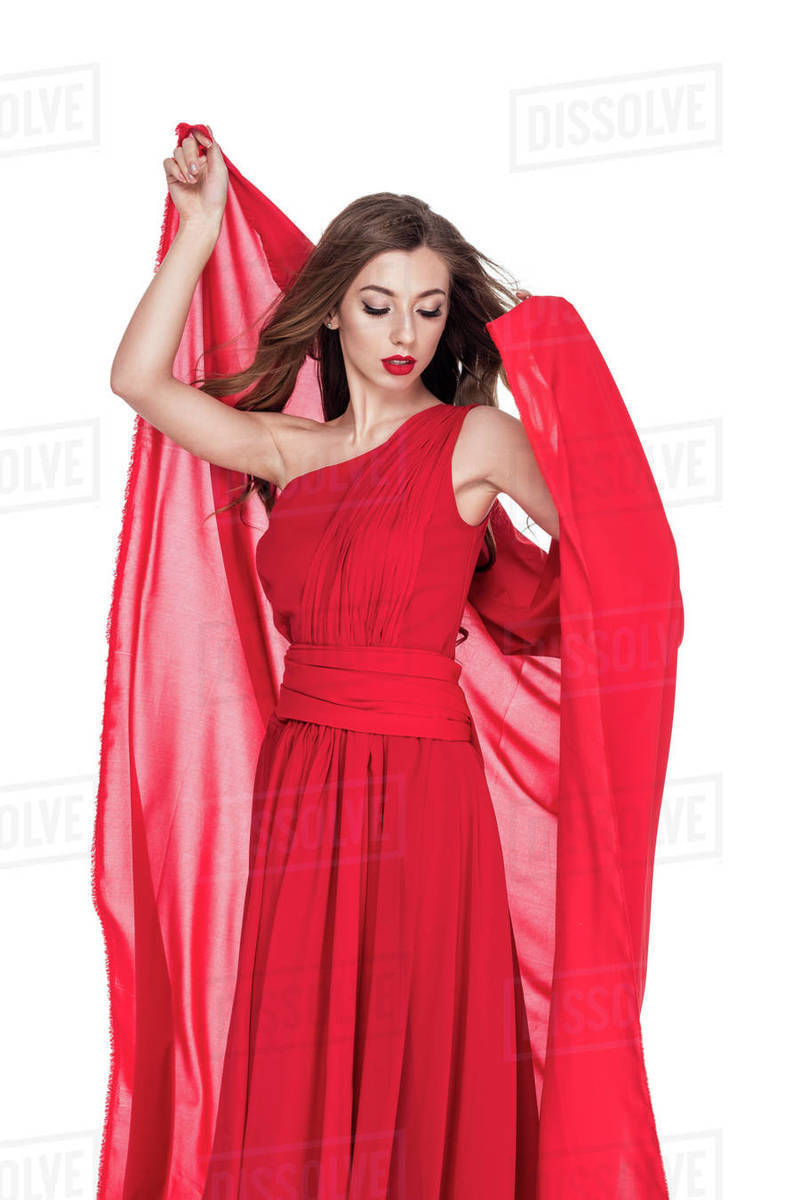 02cdf5a461a Attractive woman posing in red dress with chiffon veil