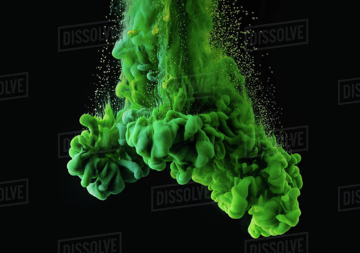 Bright Green Abstract Ink Explosion On Black Background D2115 302 994