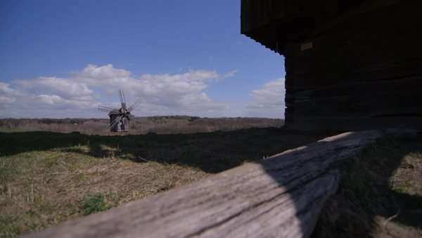 Long shot of wooden windmill Royalty-free stock video