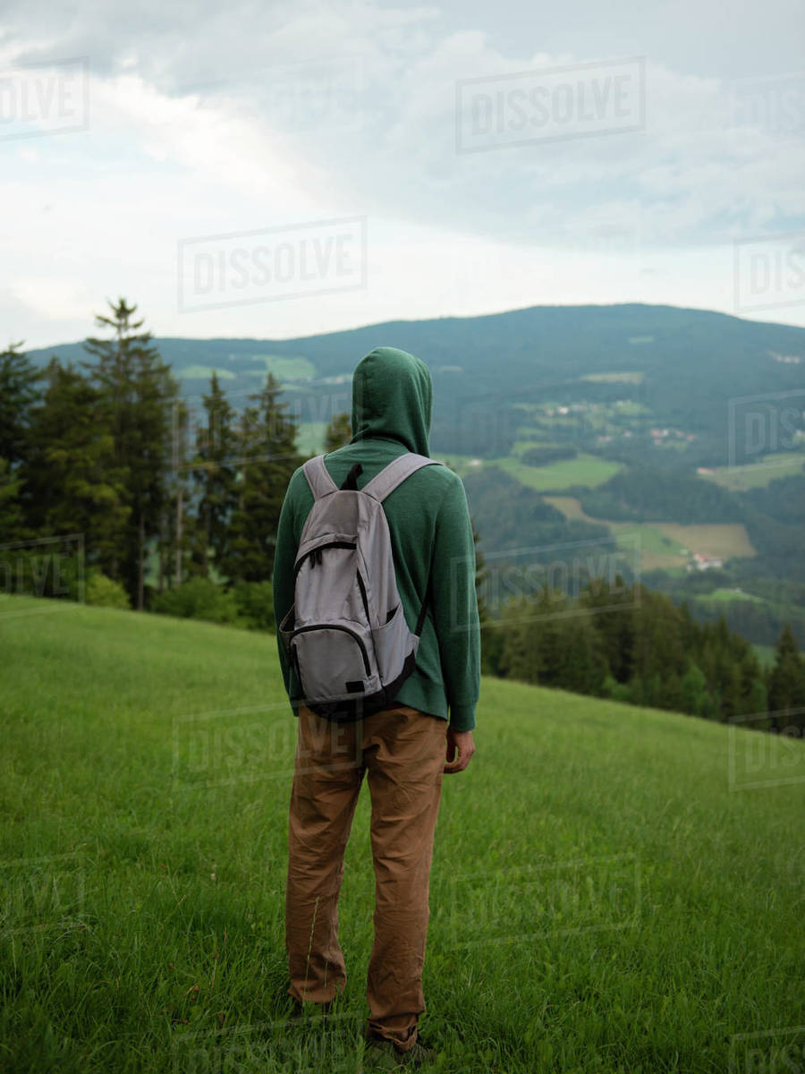 Back view of man with backpack standing and enjoying the view of forested mountains Royalty-free stock photo