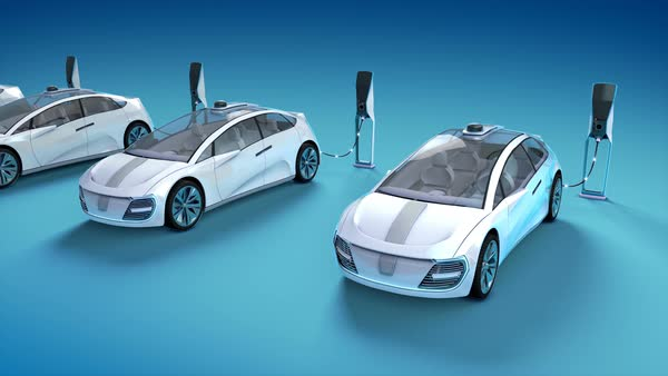 Animation of blue futuristic electric car blueprint concept car futuristic electric self driving cars charging in charging stations blue background royalty free stock malvernweather Gallery