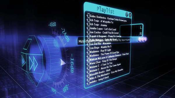 3D futuristic software audio player layout Royalty-free stock video