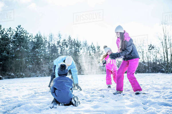 Family playing snowball fight on a beautiful snowy day Royalty-free stock photo