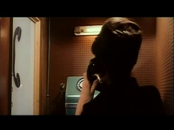 Rear view of woman dialing phone in booth, 1960s Royalty-free stock video