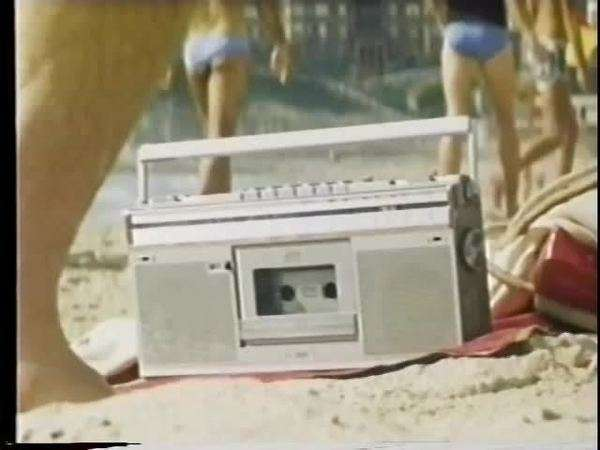 Close-up boom box on the beach Royalty-free stock video