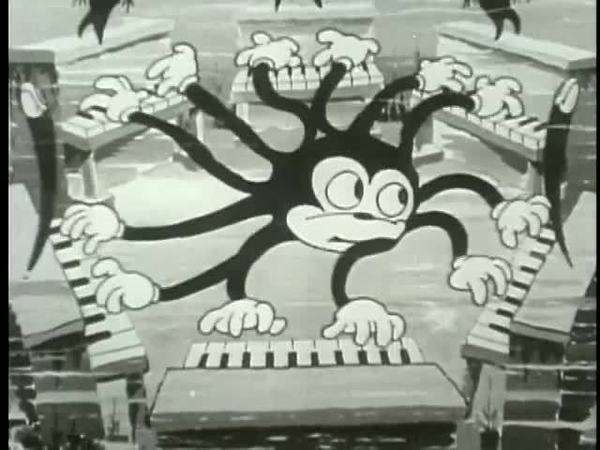 Cartoon ambidextrous octopus playing six pianos Royalty-free stock video