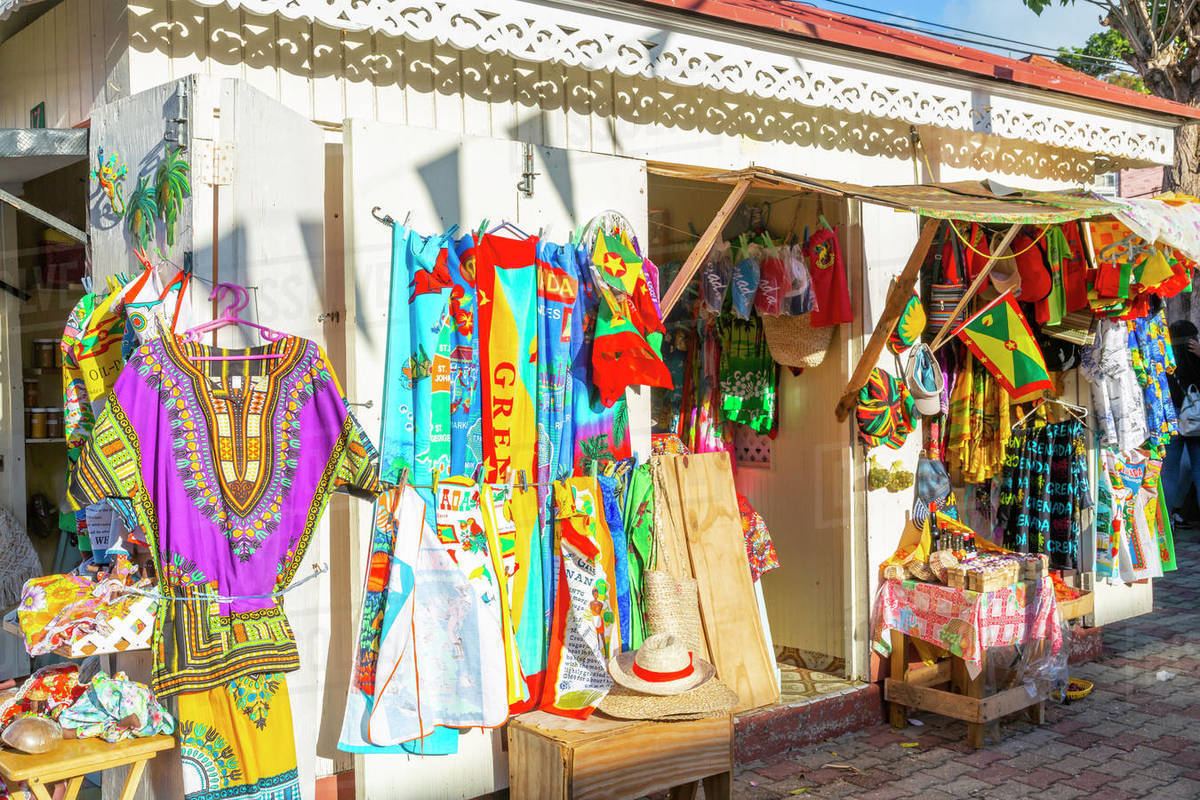 Traditional colourful clothing on Melville Street in St. George's, Grenada, Windward Islands, West Indies, Caribbean, Central America Royalty-free stock photo