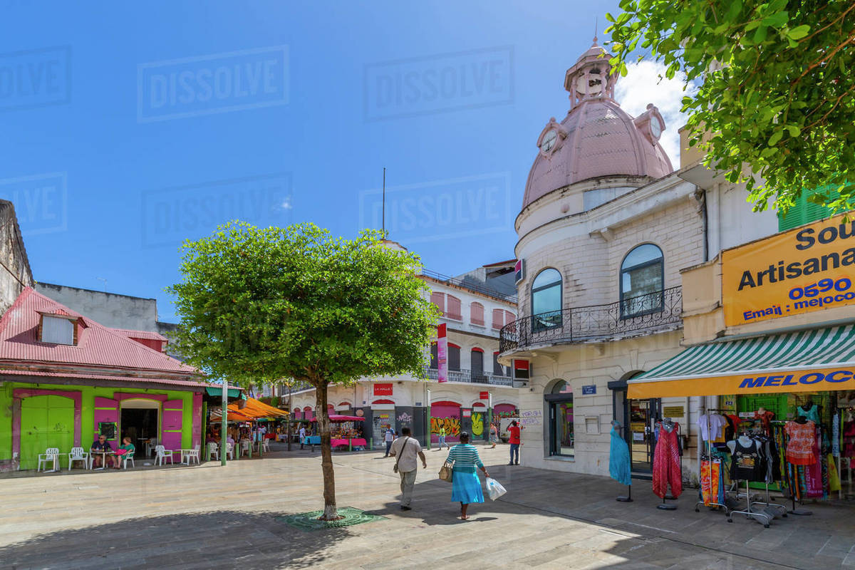 View of Spice Market Square, Pointe-a-Pitre, Guadeloupe, French Antilles, West Indies, Caribbean, Central America Royalty-free stock photo