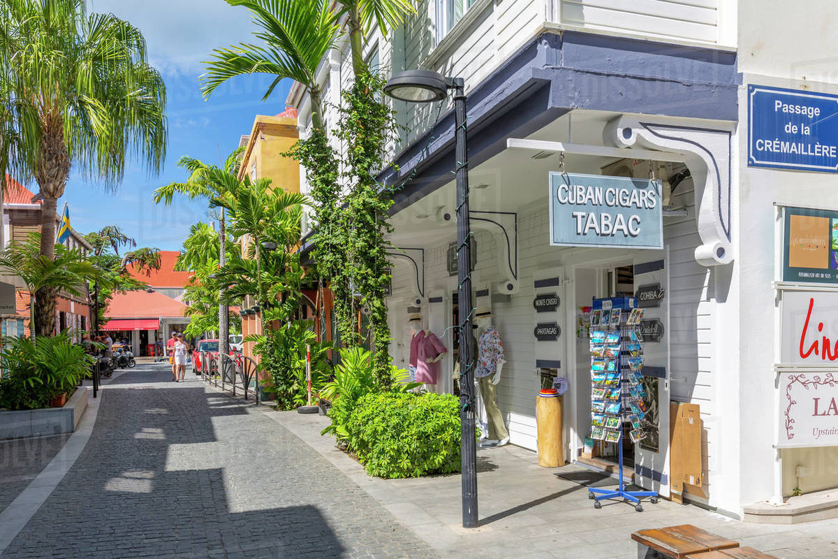 View of shops and buildings in town, Gustavia, St. Barthelemy (St. Barts) (St. Barth), West Indies, Caribbean, Central America Royalty-free stock photo