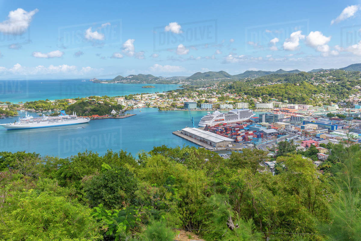 Elevated view of Castries, Castries, St. Lucia, West Indies, Caribbean, Central America Royalty-free stock photo