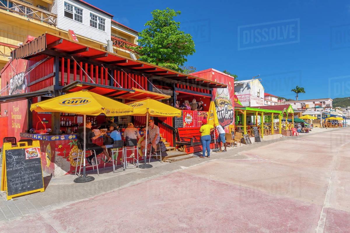 View of beach bar overlooking Caribbean Sea, Philipsburg, St. Maarten, Leeward Islands, West Indies, Caribbean, Central America Royalty-free stock photo