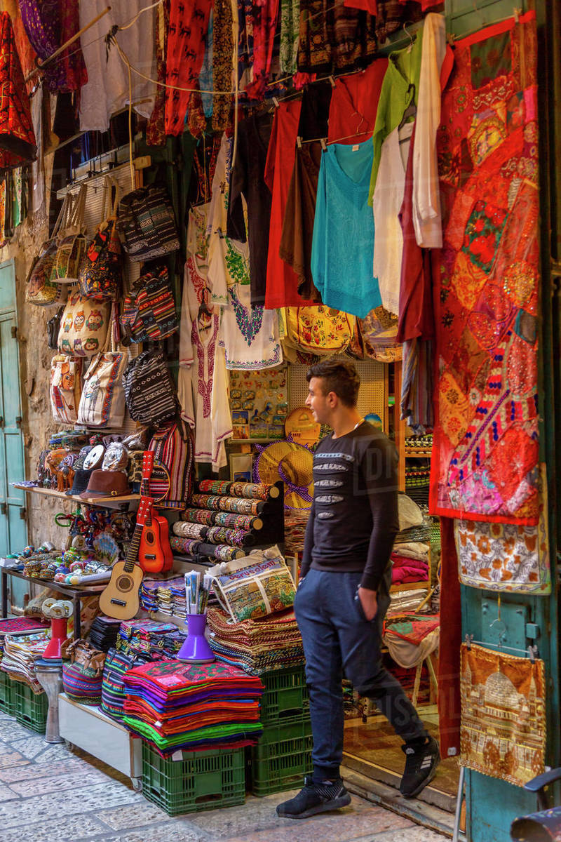 View of colourful shop in Old City, Old City, UNESCO World Heritage Site, Jerusalem, Israel, Middle East Royalty-free stock photo