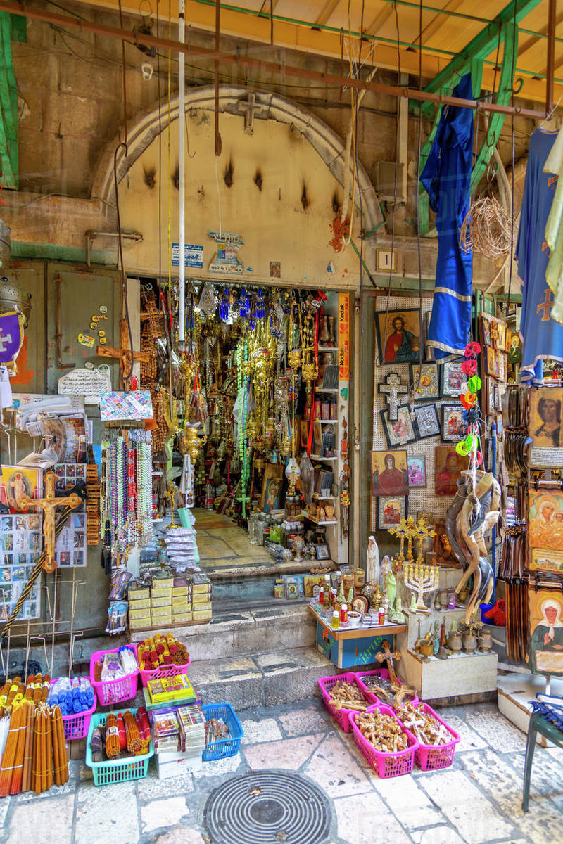 View of shop near Church of the Holy Sepulchre in Old City, Old City, UNESCO World Heritage Site, Jerusalem, Israel, Middle East Royalty-free stock photo
