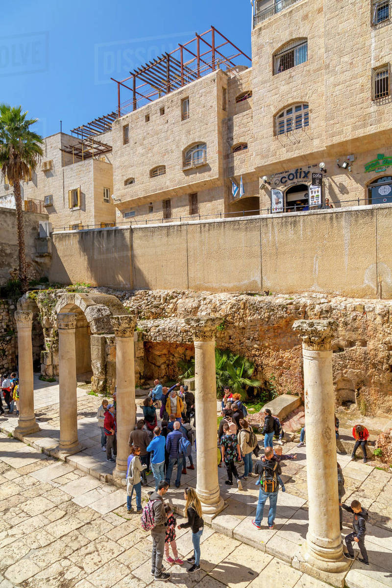 Roman excavations in Old City, Old City, UNESCO World Heritage Site, Jerusalem, Israel, Middle East Royalty-free stock photo
