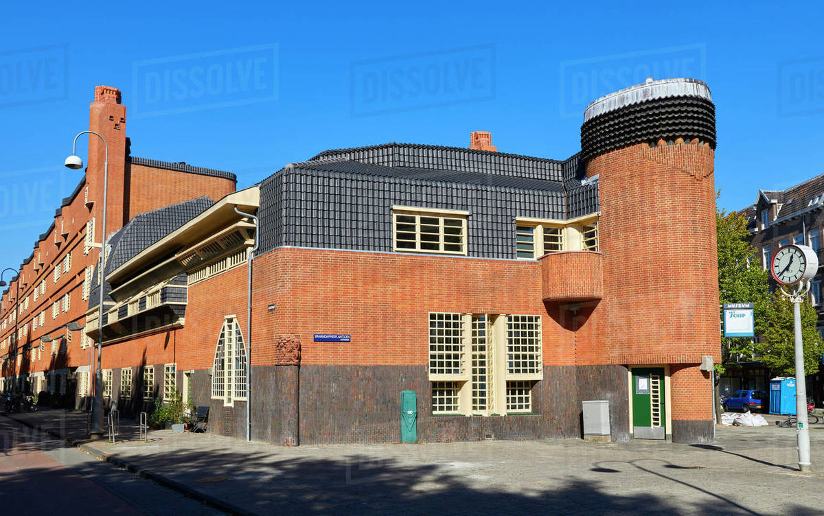 Het Schip, a 1920s social housing complex by Michel de Klerk, now a museum about the Amsterdam School architecture movement, Amsterdam, North Holland, The Netherlands, Europe Royalty-free stock photo