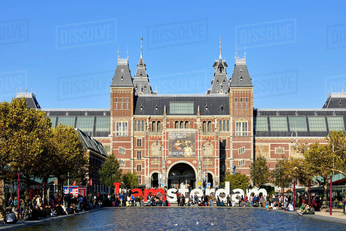 The Rijksmuseum with the IAMSTERDAM sign, Amsterdam, North Holland, The Netherlands, Europe Royalty-free stock photo