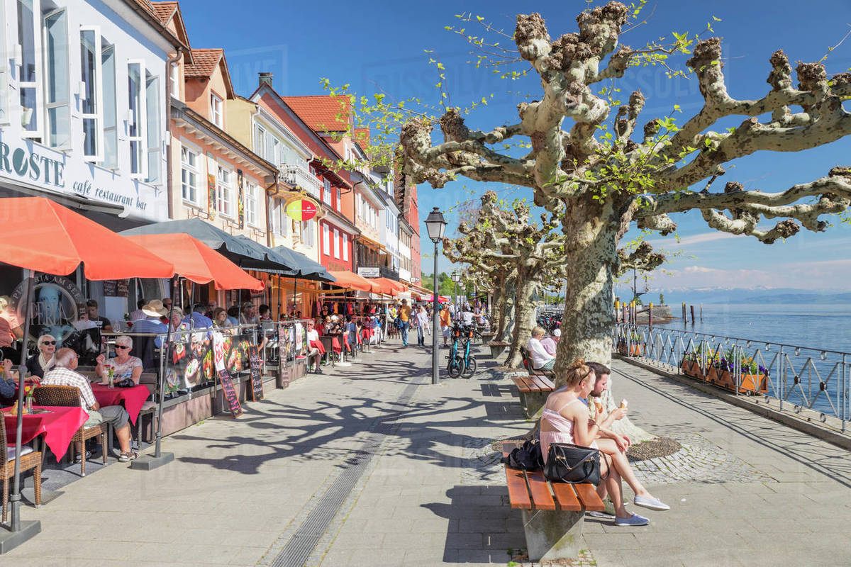 Restaurants at the promenade, Meersburg, Lake Constance, Baden-Wurttemberg, Germany, Europe Royalty-free stock photo