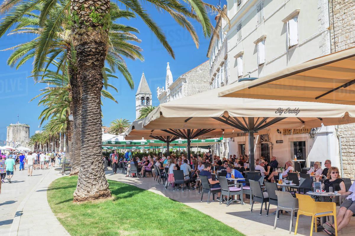 Street Cafes at Riva Promenade, Trogir, UNESCO World Heritage Site, Dalmatia, Croatia, Europe Royalty-free stock photo
