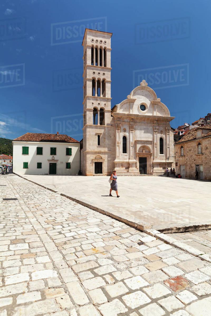 Sveti Stjepan Cathedral, Hvar, Hvar Island, Dalmatia, Croatia, Europe Royalty-free stock photo
