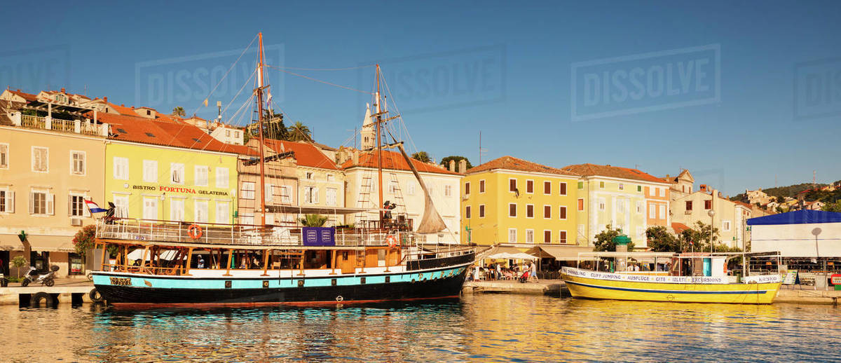 Harbour and old town at sunset, Mali Losinj, Cres Island, Kvarner Gulf, Croatia, Europe Royalty-free stock photo