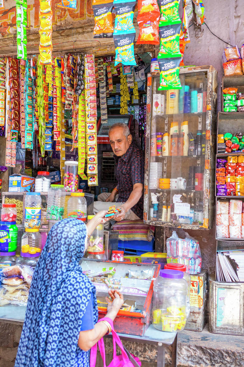 A local store in the Blue City in Jodhpur, Rajasthan, India, Asia Royalty-free stock photo
