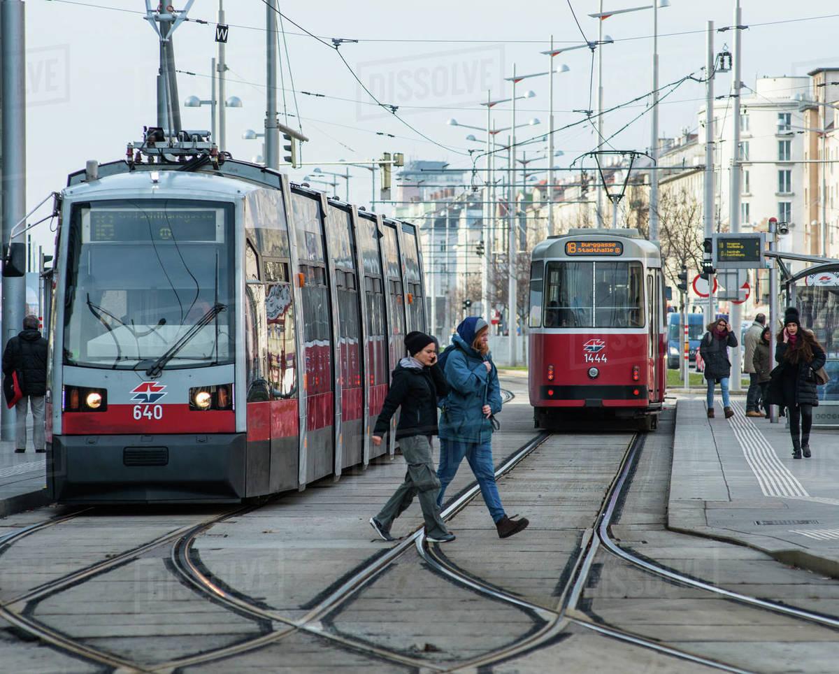 Trams on Wiedner Gurtel near Hauptbahnhof, Vienna, Austria, Europe Royalty-free stock photo