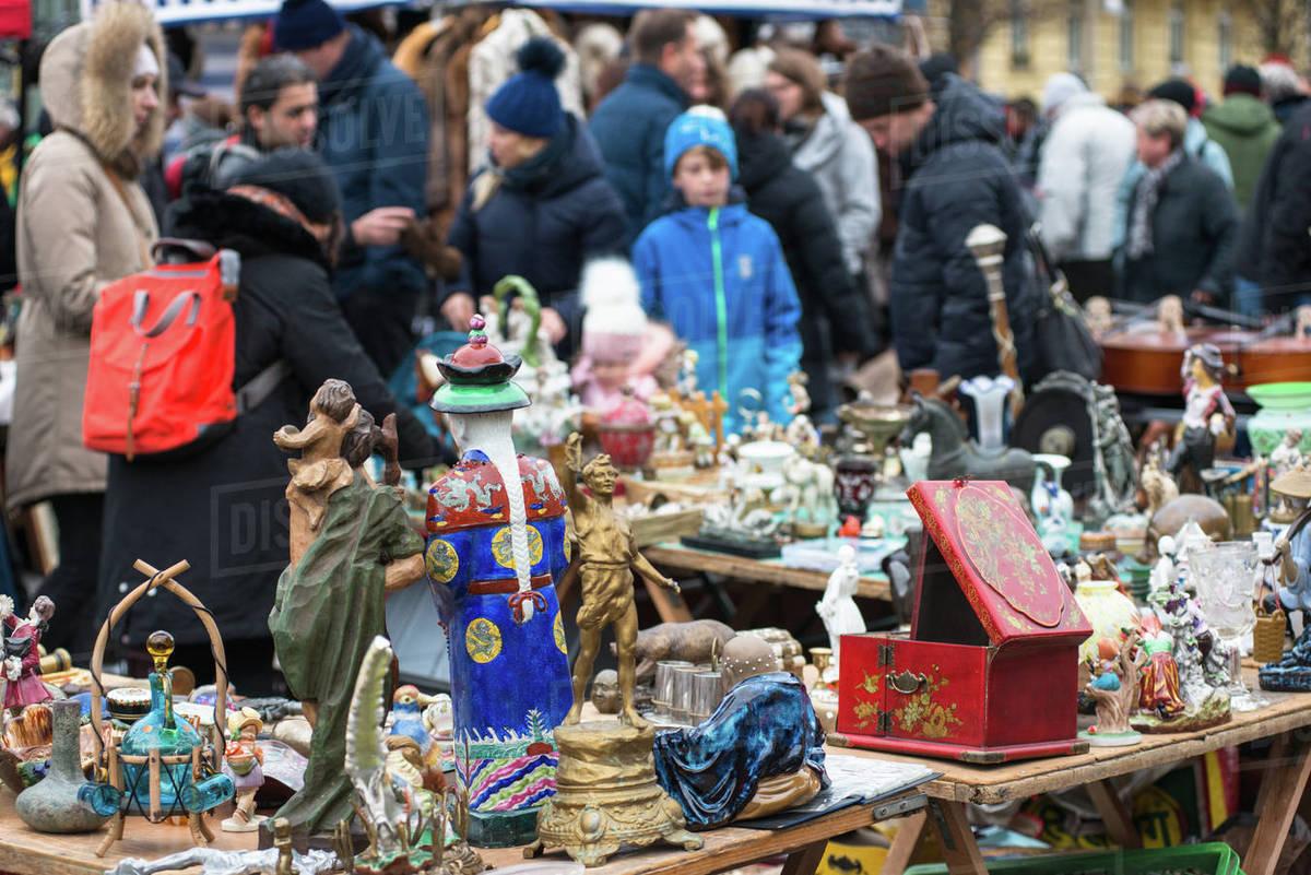 Vienna Naschmarkt Linke Wienzeile flea market (antique market), Vienna, Austria, Europe Royalty-free stock photo