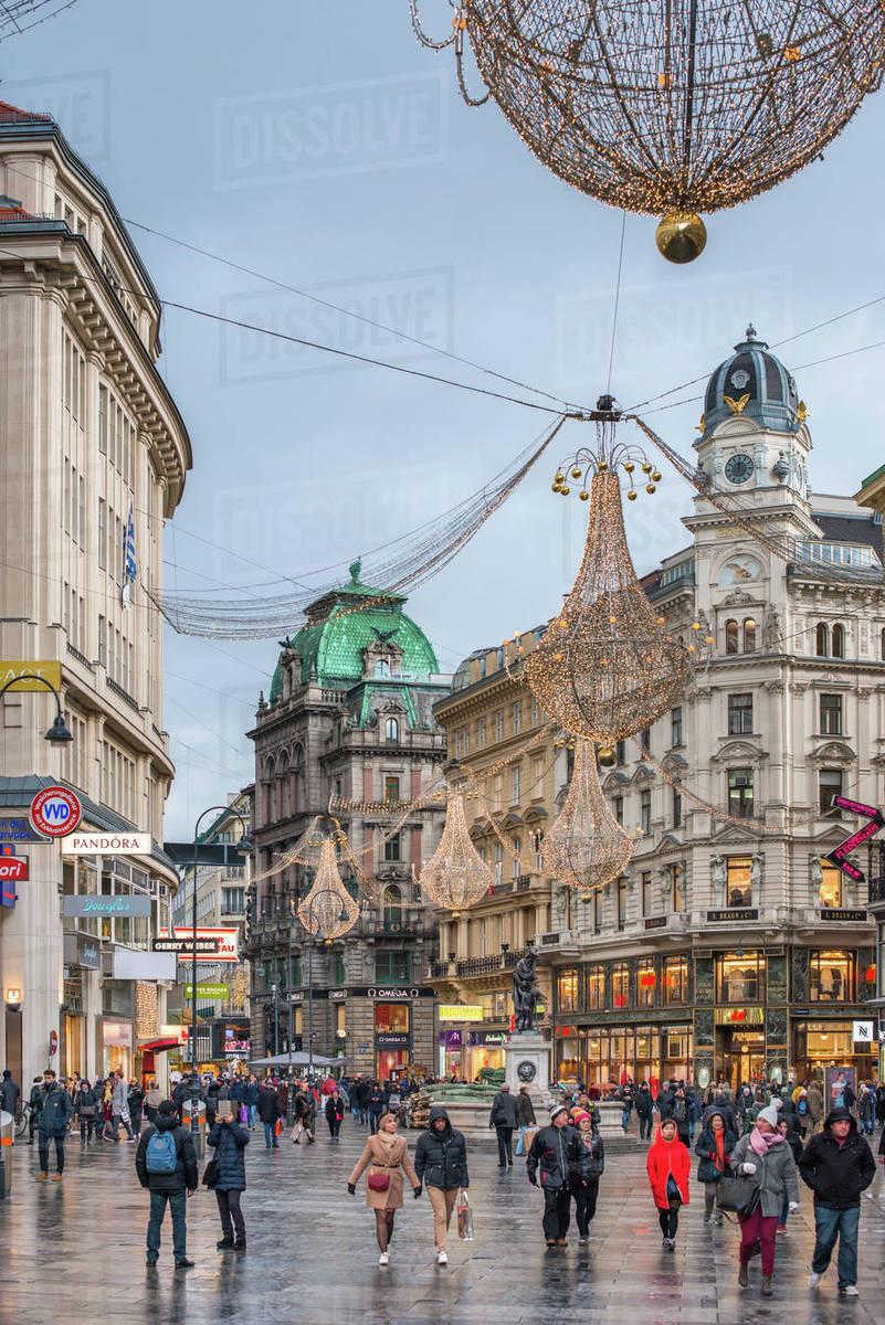 Christmas illuminations at dusk, on Vienna's city centre thoroughfare the Graben, Vienna, Austria, Europe Royalty-free stock photo