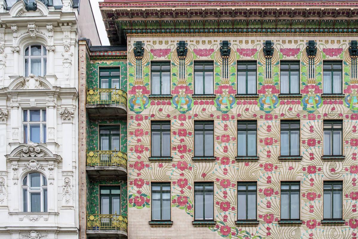 The Art Nouveau facade of the Majolikahaus opposite Naschmarkt market, Vienna, Austria, Europe Royalty-free stock photo