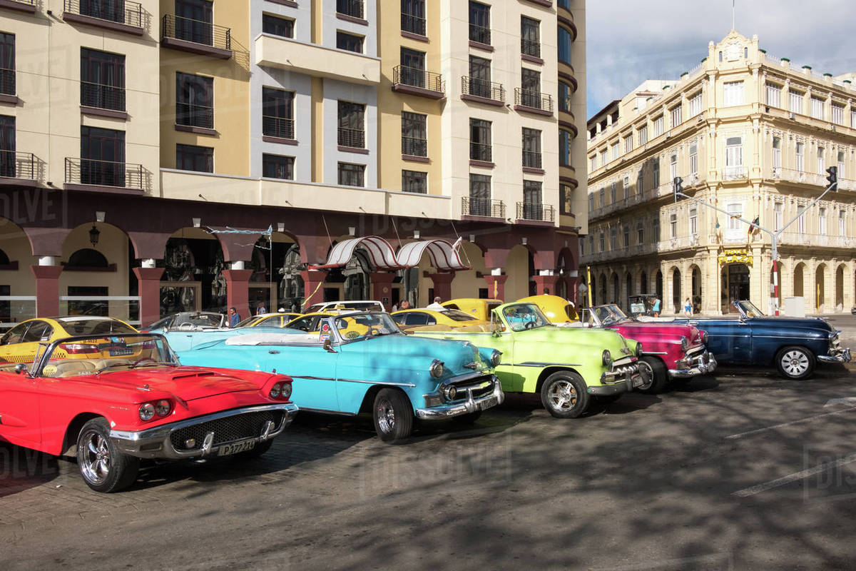 Colourful vintage convertible taxis in Havana, Cuba, West Indies, Caribbean, Central America Royalty-free stock photo