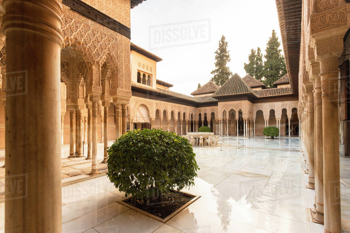 Court of the Lions at the Nasrid Palace, the Alhambra, UNESCO World Heritage Site, Granada, Andalucia, Spain, Europe Royalty-free stock photo