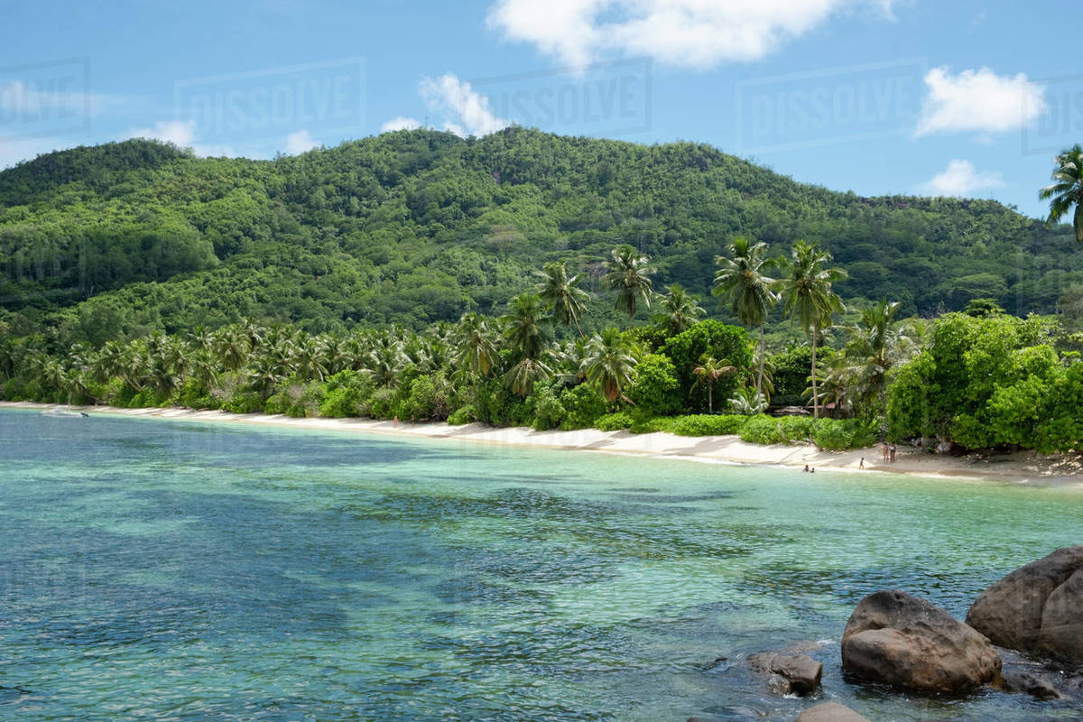 Anse Marie-Louise on the southeast coast of Mahe, Seychelles, Indian Ocean, Africa Royalty-free stock photo