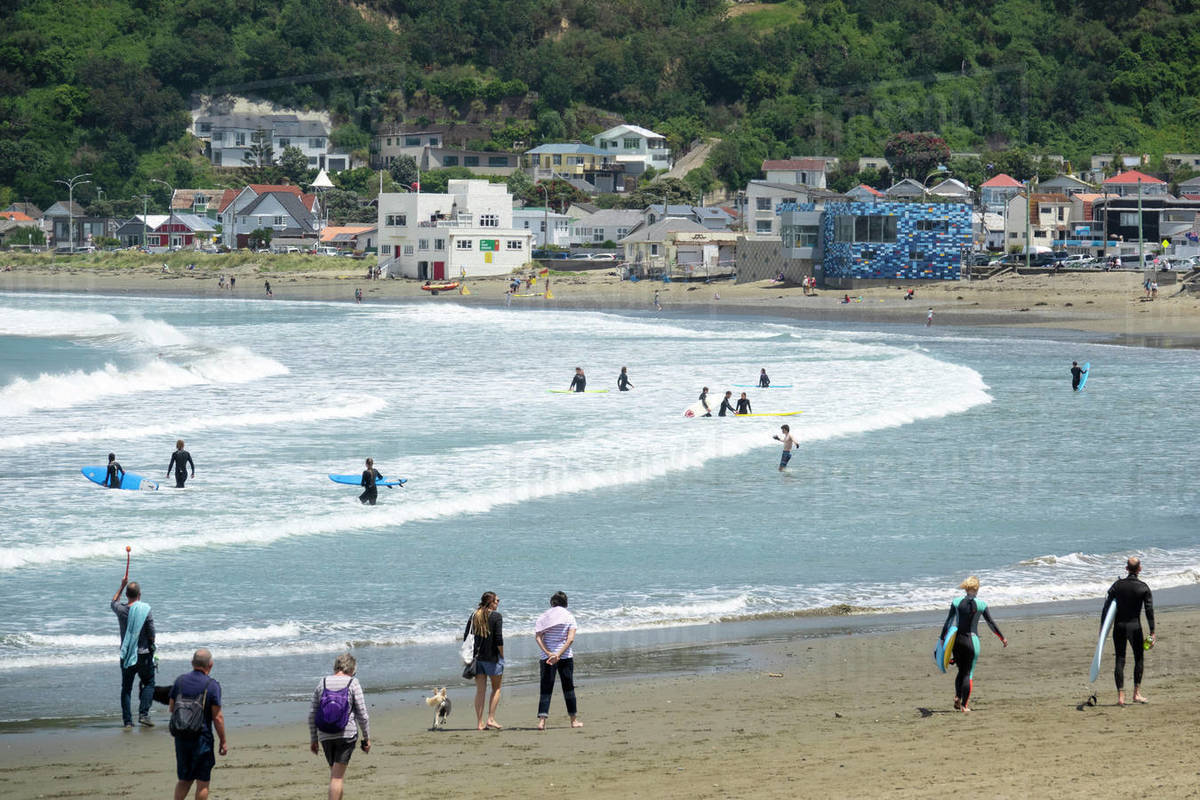 Surfers and walkers, Lyall Bay, Wellington, North Island, New Zealand, Pacific Royalty-free stock photo