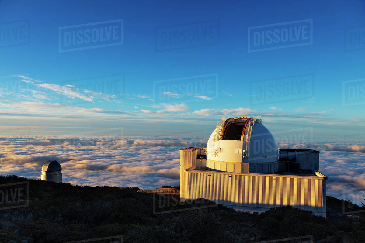 Telescope observatory, Caldera de Taburiente National Park, UNESCO Biosphere Site, La Palma, Canary Islands, Spain, Atlantic, Europe Royalty-free stock photo