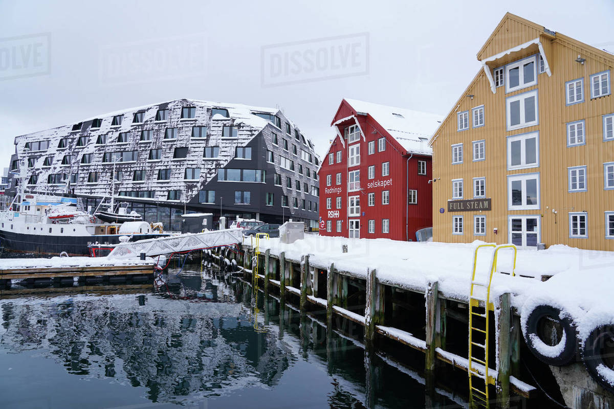 Tromso Harbour, Tromso, Troms County, Norway, Scandinavia, Europe Royalty-free stock photo