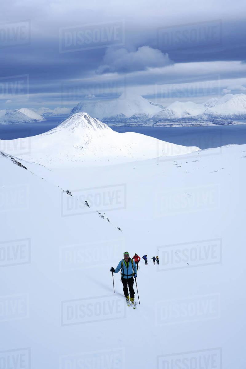 Ski touring in the Lyngen Alps, Lyngen peninsula, Troms County, Norway, Scandinavia, Europe Royalty-free stock photo