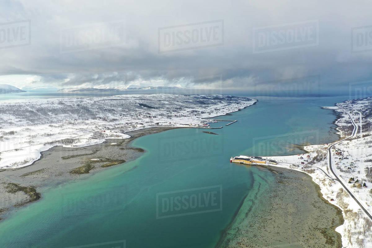 Drone view of Nordlenangen, Lyngen peninsula, Troms County, Norway, Scandinavia, Europe Royalty-free stock photo