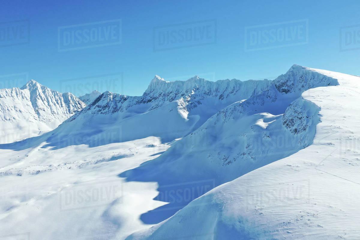 Drone view of Lyngen Alps, Nordlenangen, Lyngen peninsula, Troms County, Norway, Scandinavia, Europe Royalty-free stock photo