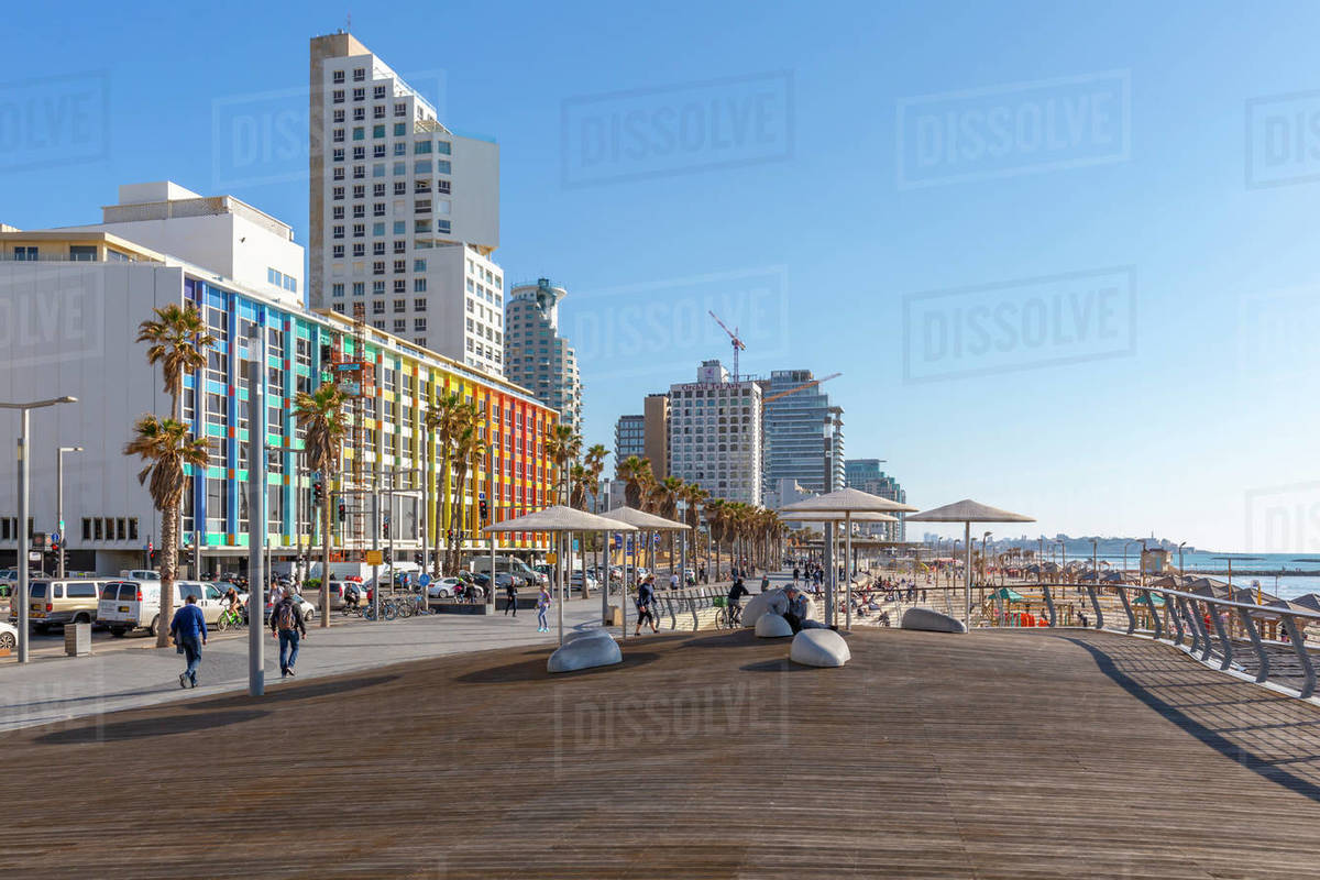 View of colourful buildings and promenade on Hayarkon Street, Tel Aviv, Israel, Middle East Royalty-free stock photo