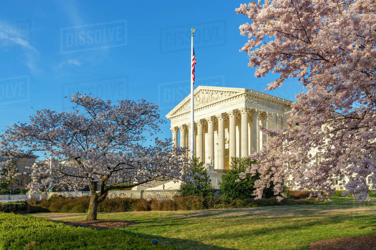 View of Supreme Court of the United States in spring, Washington D.C., United States of America, North America Royalty-free stock photo