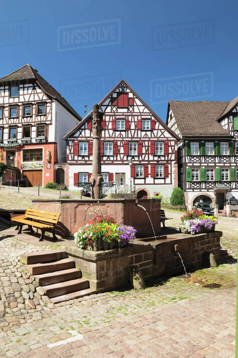 Half-timbered houses, market place, Schiltach, Black Forest, Kinzigtal Valley, Baden-Wurttemberg, Germany, Europe Royalty-free stock photo