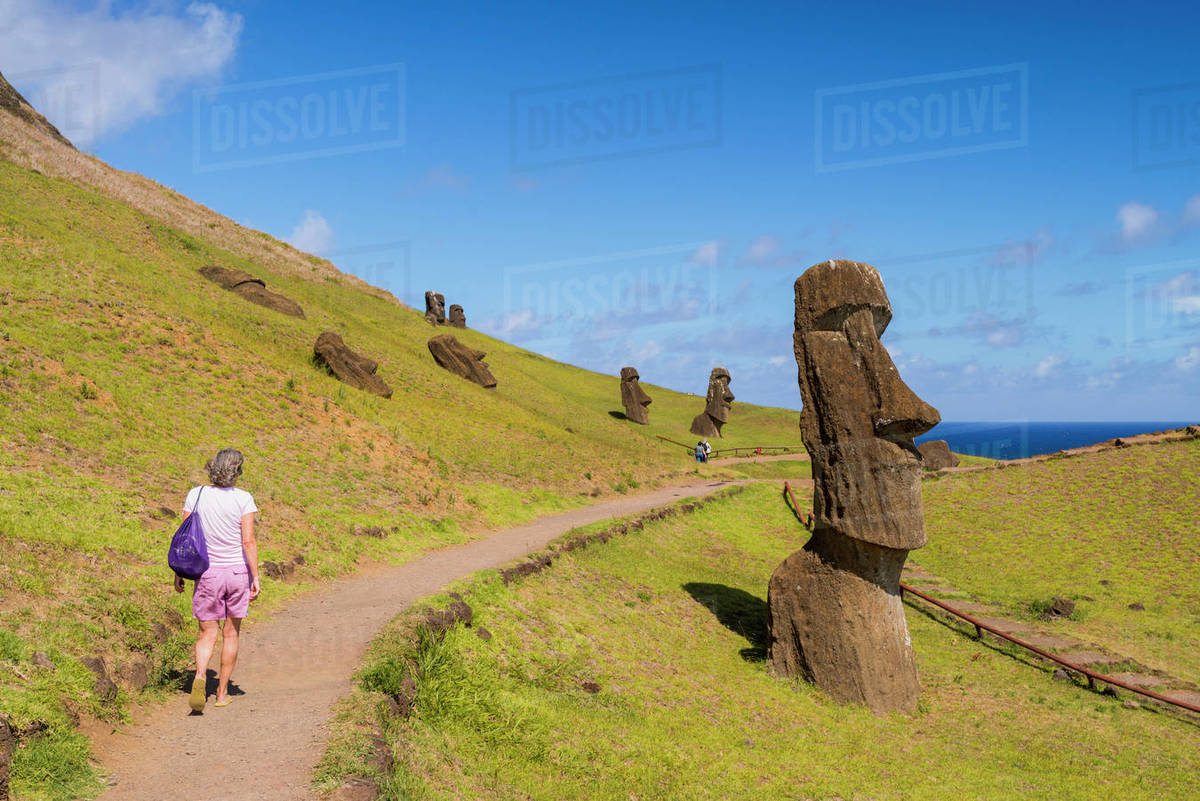 Moai heads of Easter island, Rapa Nui National Park, UNESCO World Heritage Site, Easter Island, Chile, South America Royalty-free stock photo