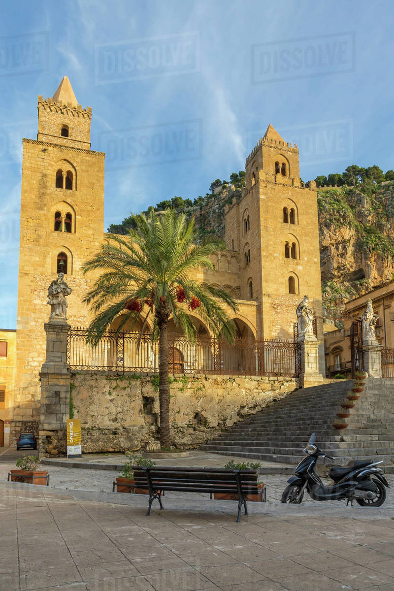 The Cathedral of Cefalu, UNESCO World Heritage Site, with Rocca di Cefalu in the background at sunset, Cefalu, Sicily, Italy, Europe Royalty-free stock photo